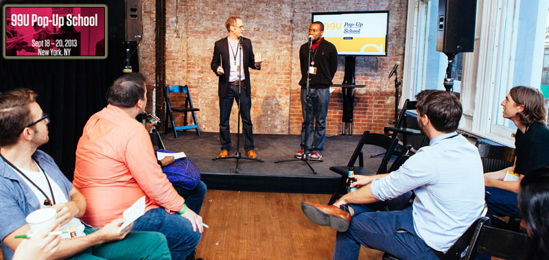 Putting job-seekers on the Negotiation Hotseat at the 99u Conference (Photo Julian Mackler)